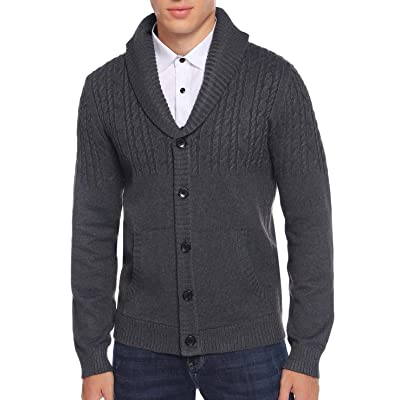 Aibrou Men's Shawl Collar Button Cardigan Sweater Cable Knit Knitwear with Pockets at Men's Clothing store