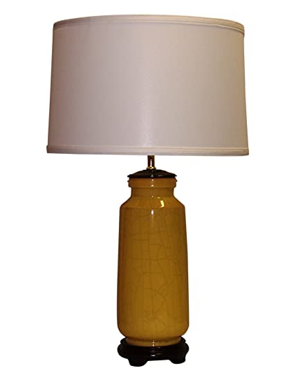 A Ray Of Light 67648o Yellow Crackle Handcrafted Table Lamp With Off