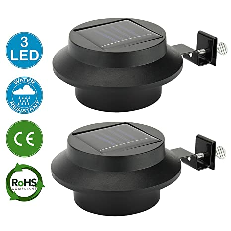 yinghao 3 LED funciona con energía solar luz valla de canalón de luz al aire libre