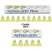 NONGI Combo Plus Plastic Badminton Shuttlecock Pack of 15(Yellow)