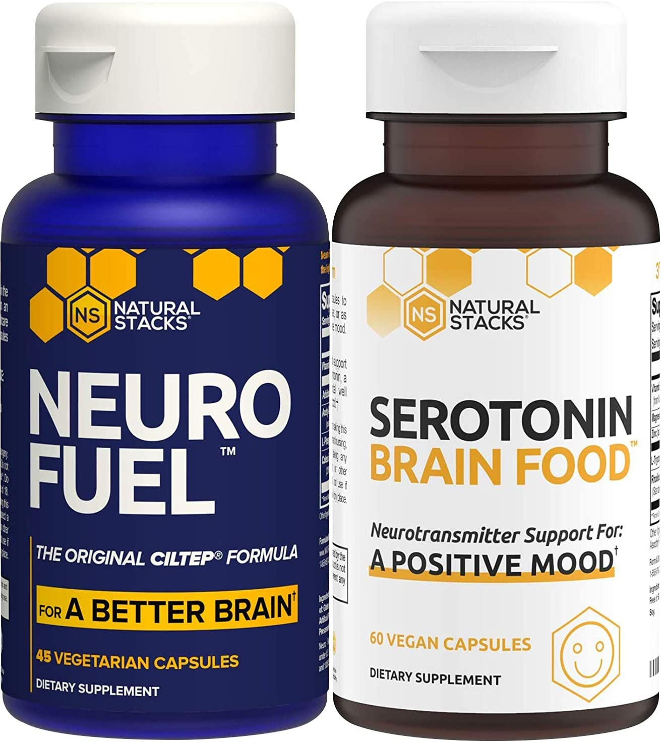Natural Stacks Supplements Bundle - NeuroFuel Brain Supplement (45ct) and Serotonin Brain Food (60ct) - Improved Focus, Memory and Motivation, Better Mood and Relaxation