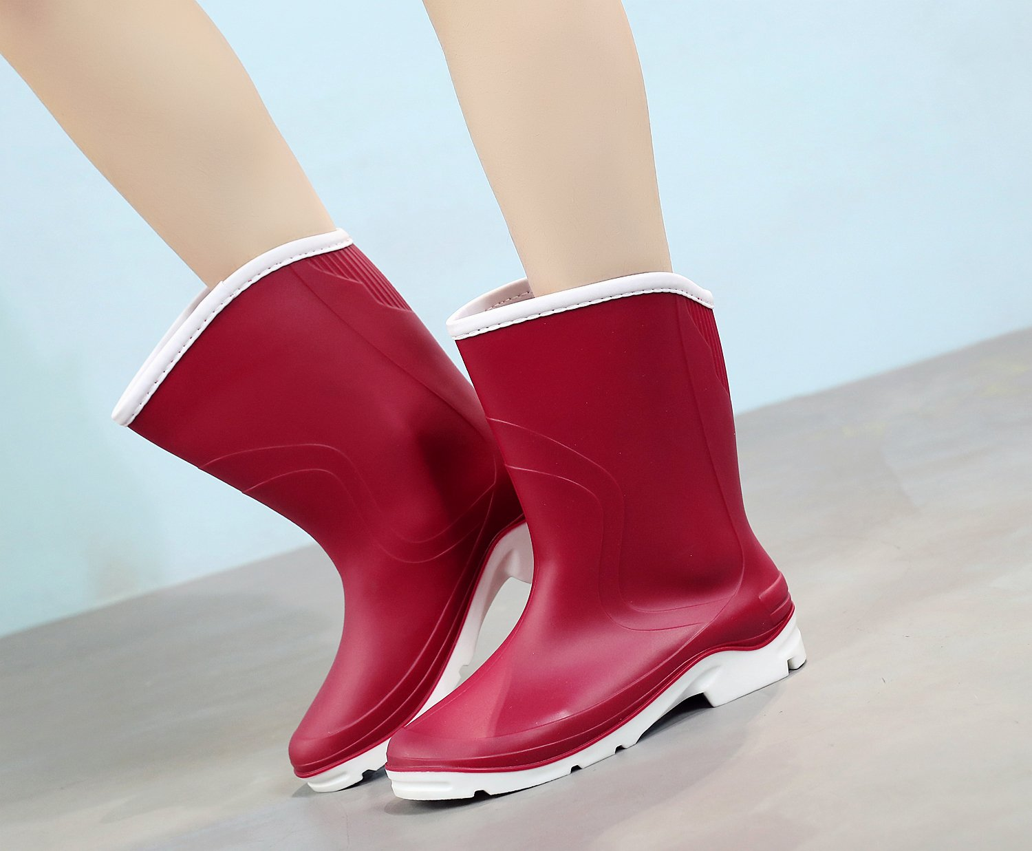 Kontai Women Half Calf Ankle Rubber Rainboots 2 Color Waterproof Boots for Garden Rain Round Toe Rainboots Size 7.5 by Kontai (Image #6)