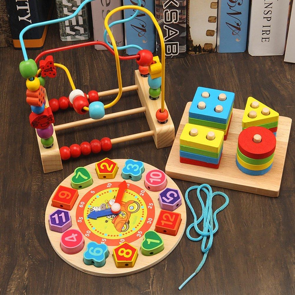 Multifunktionale Hölzerne Aktivität Center Box Baby Spielzeug Bead Maze Form Farbe Digitale Mathematik (Rainbow Tower) (Farbe : C)