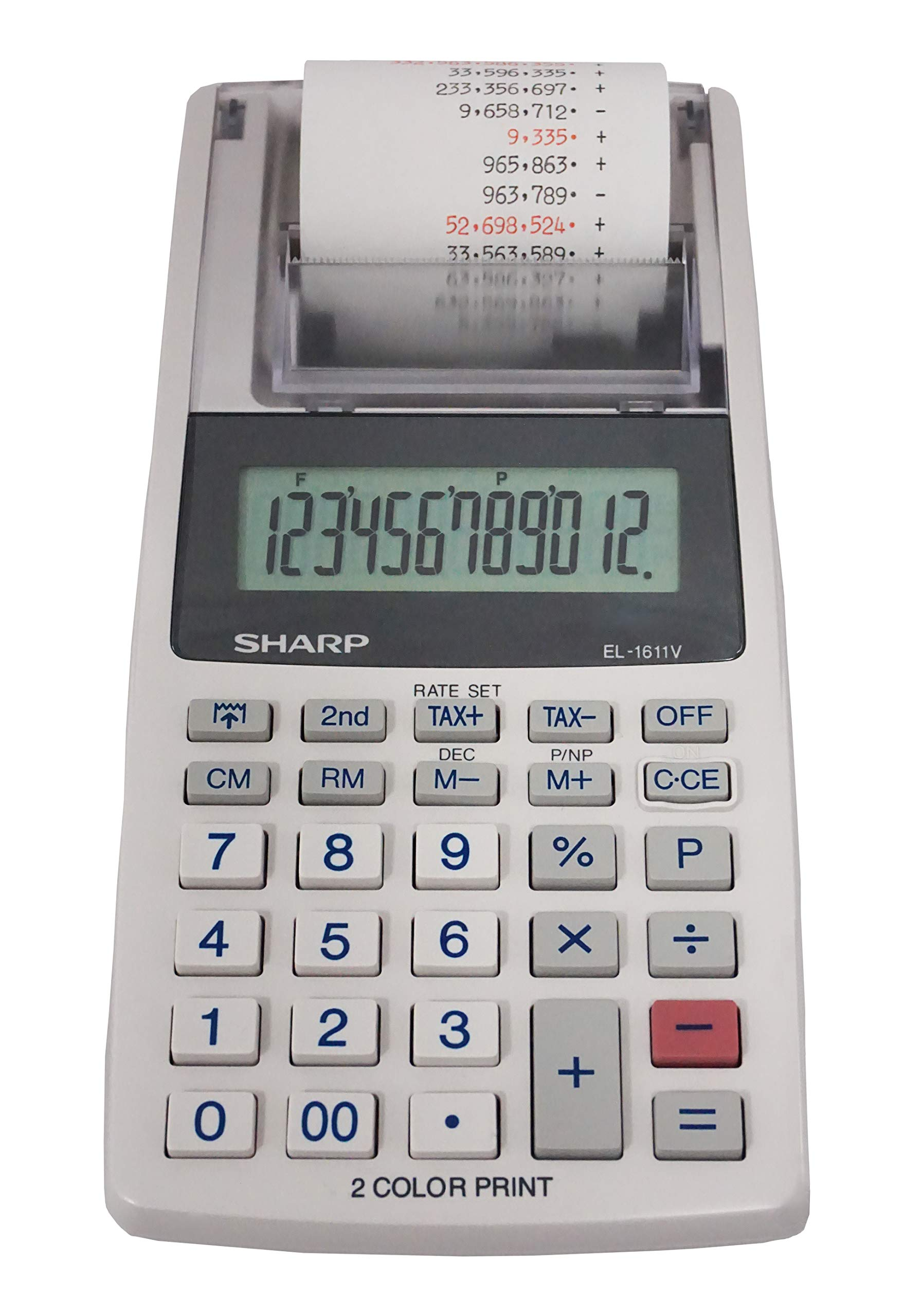 Sharp EL-1611V Handheld Portable Cordless 12 Digit Large LCD Display Two-Color Printing Calculator with Tax Functions by Sharp