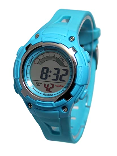 Reloj infantil cuarzo, digital, color turquesa sport chrono alarma, impermeable: Amazon.es: Relojes