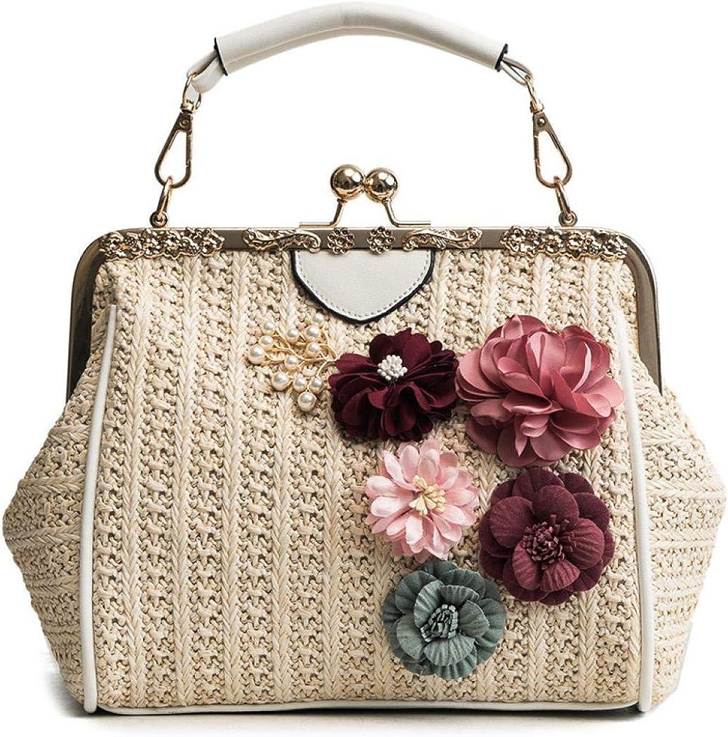 EROUGE Women Straw Weave Handbag Floral With Detachable Chain Handbags Clutch Wallet