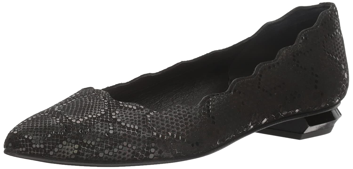 French Sole FS/NY Women's Tequila Pointed-Toe Flat B01MZB22GP 6 B(M) US|Black Iridescent Snake