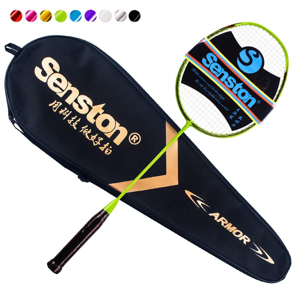 Senston N80 Graphite Single High-Grade Badminton Racquet, Professional Carbon Fiber Badminton Racket, Carrying Bag Included Green Color