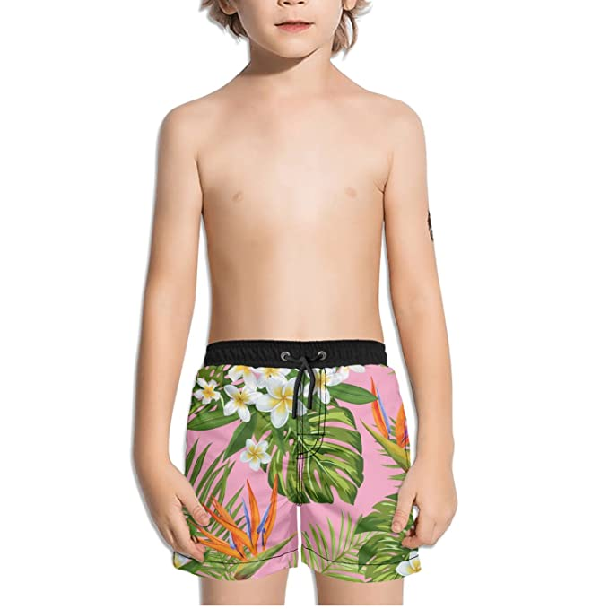 Mens Swim Trunks Tropical Banana Leaf Quick Dry Beach Board Short with Mesh Lining