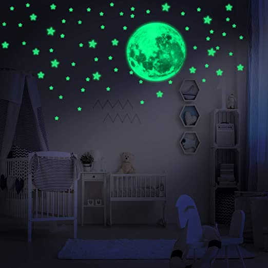 Wall Decal Stickers Room decor Glow in the Dark Stars w// Big Moon-Perfect Gift