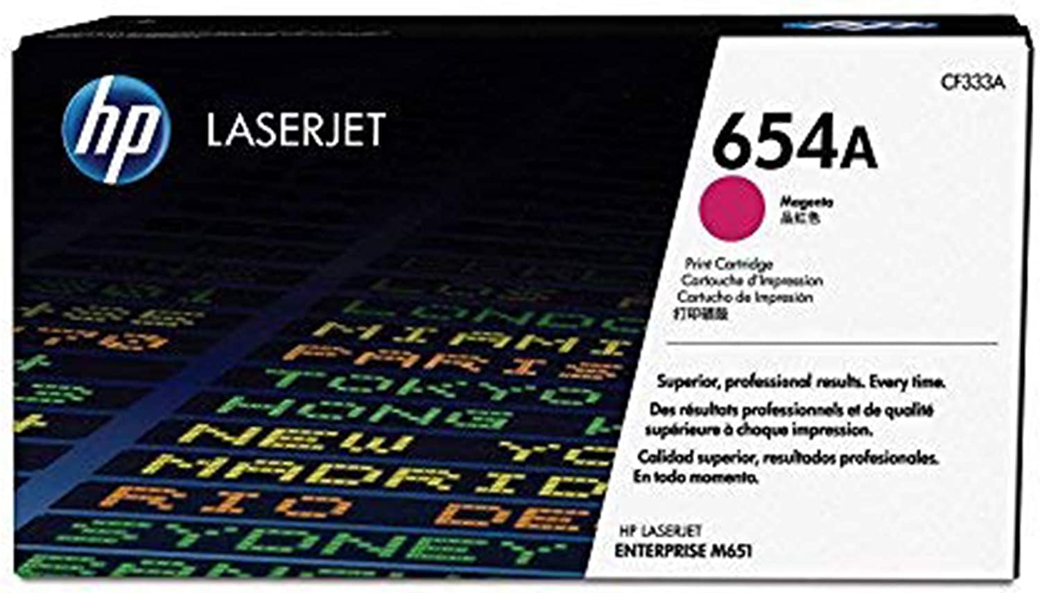 "HP 654A | CF333A | Toner Cartridge | Magenta, 6.5"" x 8.4"" x 15.4"""