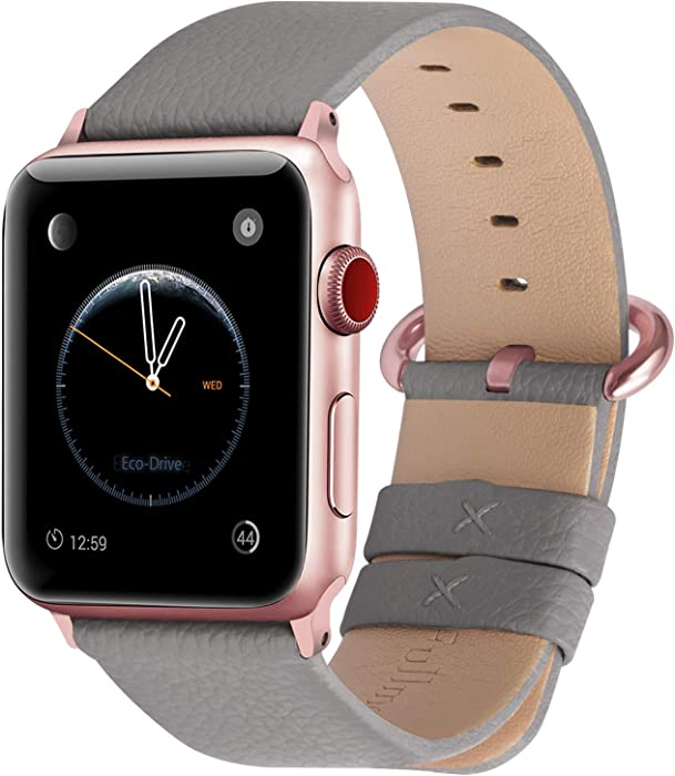 Fullmosa Compatible Apple Watch Band 42mm 44mm 40mm 38mm Leather Compatible iWatch Band/Strap Compatible Apple Watch SE & Series 6 5 4 3 2 1, 42mm 44mm Grey + Rose Gold Buckle
