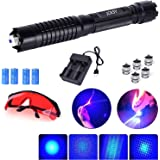 JCKSY Blue Burning Light Pointer, High Power Tactical Flashlight Teaching Hunting Pen with 5 Patterns, for Camping…