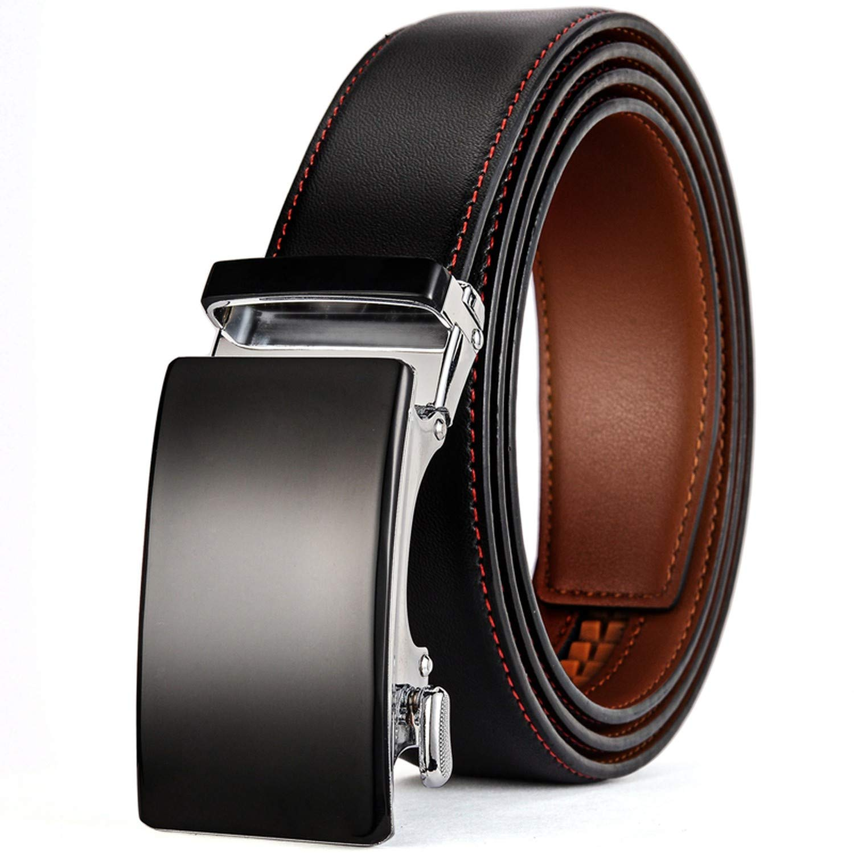 Romantico Genuine Leather Belt Men Ratchet Dress Belt With Automatic Buckle Blue Red Light Brown Mens Belts B36,Blue,120cm