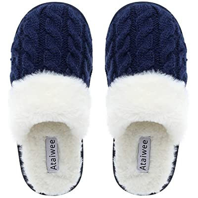 Amazon.com | Ataiwee Women's House Cotton Slippers - Coral Fleece Terry Scuff, Comfy Slip On Anti-Slip Sole Warm Shoes Indoor & Outdoor. | Slippers