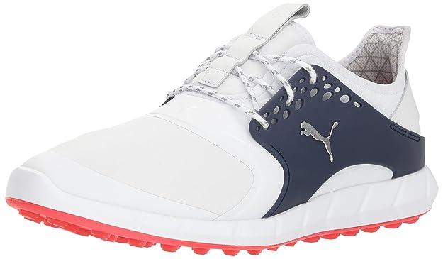 Puma Golf Men's Ignite Pwrsport Pro Golf Shoe, White-Puma Silver-Peacoat, 9 M US