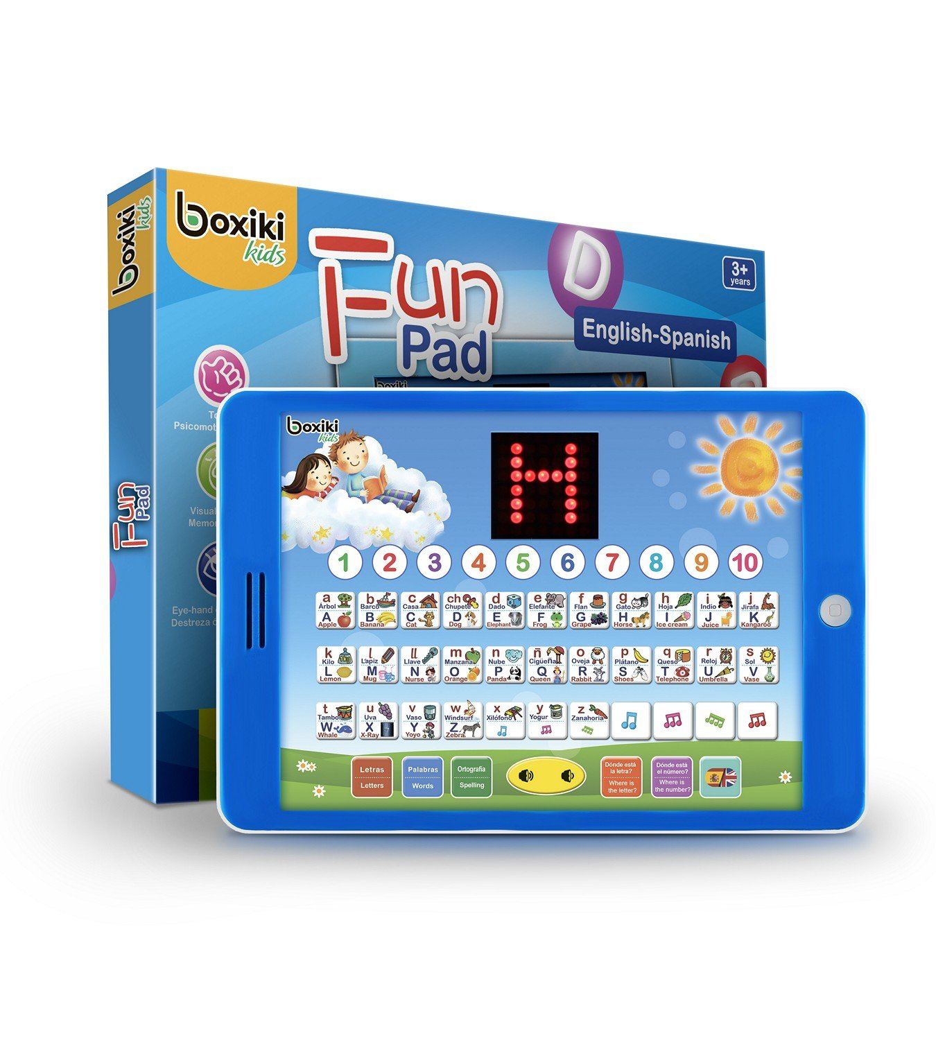 Spanish-English Tablet / Bilingual Educational Toy with LCD Screen Display. Touch-and-Teach Pad for Children. Learning Spanish and English. ABC Games, Spelling, ''Where is?'' Kids Game, Fun Melodies by Boxiki kids