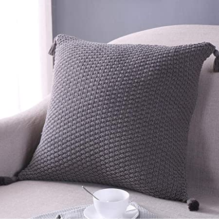 Tejer algodón Throw Pillow Cojín Funda con borla de 45 x 45 ...