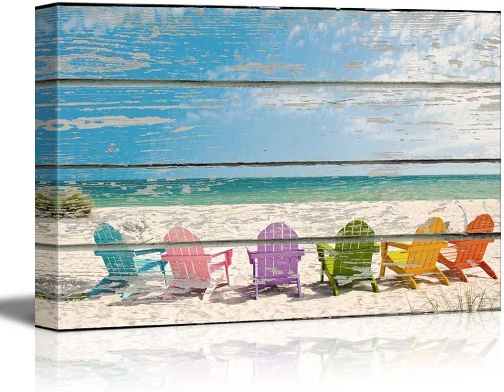 wall26 - Canvas Wall Art - Beach Chairs on White Soft Sand on Vintage Wood Textured Background - Rustic Country Style Modern Giclee Print Gallery Wrap Home Art Ready to Hang - 16