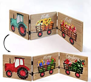 Delight Spirit Reversible Winter and Fall Tabletop Decor Wooden Tractor Home Sign Seasonal Farmhouse Tractor with Trailers Interchangeable Decoration for Christmas Thanksgiving Harvest