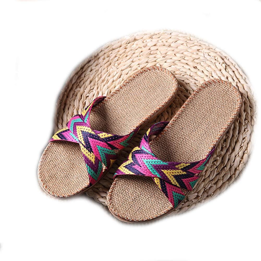 EULAGPRE Chaussons de Lin Chaussures de Sol Pantoufles /à la Sueur Silencieuse Crois/ée Sandales Femmes d/ét/é