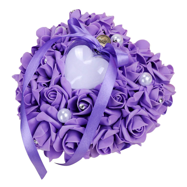 d131e64725 Migavan Ring Holder,Wedding Ring Box,Heart Shape Wedding Ring Pillow Holder  with Rhinestone Rose Flower Decor for Wedding Ceremony Supplies  Gifts(Purple)