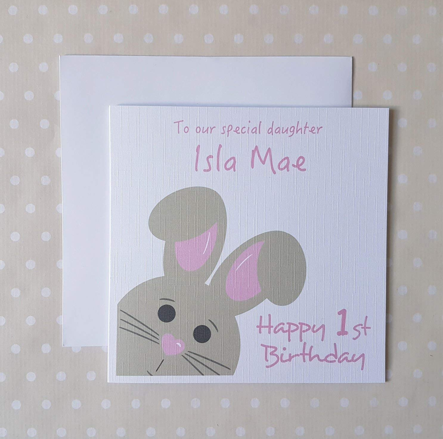 Personalised 1st Birthday Card Son//Daughter//Grandson//Granddaughter Blue or Pink