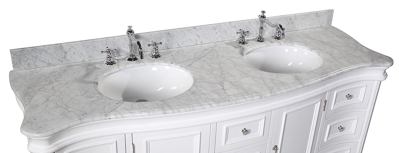 Katherine 72-inch Double Vanity (Carrara/White): Includes White ...