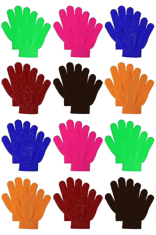 Keriber 12 Pairs Kids Warm Magic Gloves Teens Winter Stretchy Knit Gloves Boys Girls Knit Gloves