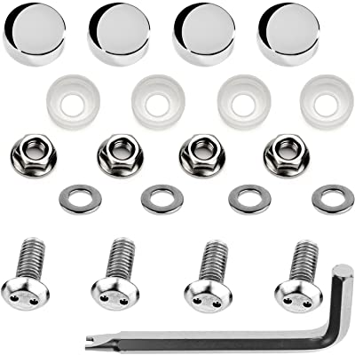 LFParts Stainless Steel Rust Resistant Motorcycle License Plate Frame Security Anti-Theft Machine Type Screws Fasteners (M6x12mm, Chrome Caps): Industrial & Scientific