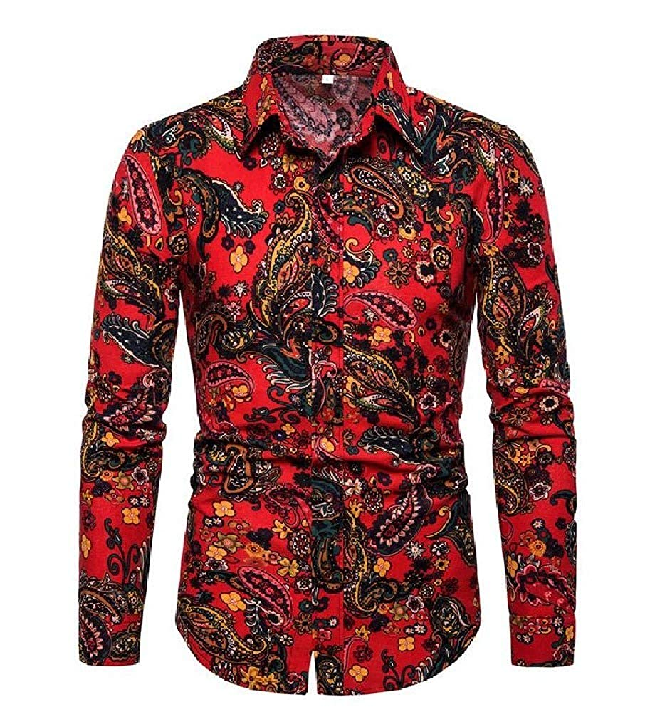 Sebaby Men Ethnic Style Tailored Fit Casual Floral Printed T-Shirts