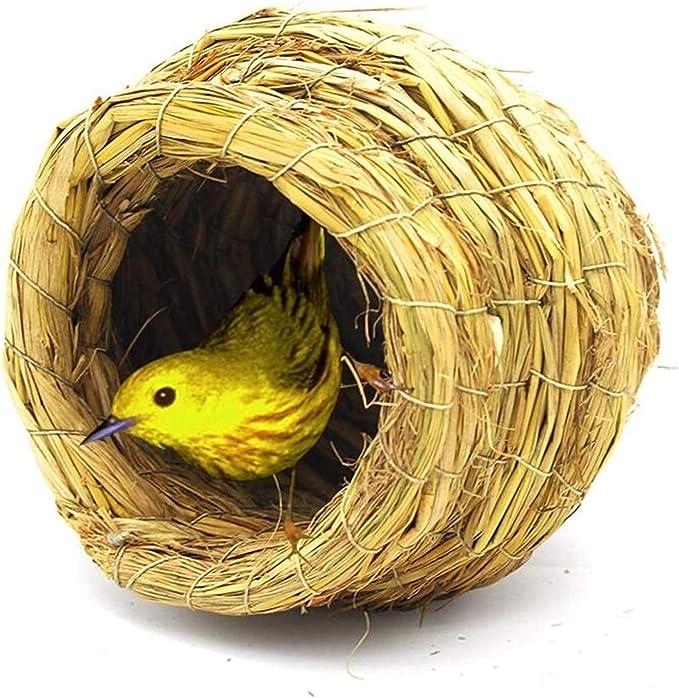 Jaula dpájaros duradera y ecológica, BirdCages Bird Nest Hecho A Mano Paja Jaulas Piedras de Pet Animales Pequeño Pájaro Peonía Parrot Loro Cría Hierba Gest Nest (Tamaño: Grande) Jaula para pájaros Pa