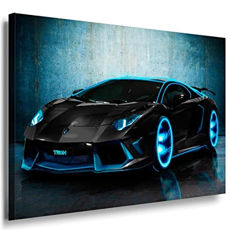 Lamborghini Blue Neon Lara Floral Canvas Wall Art Canvas Pictures