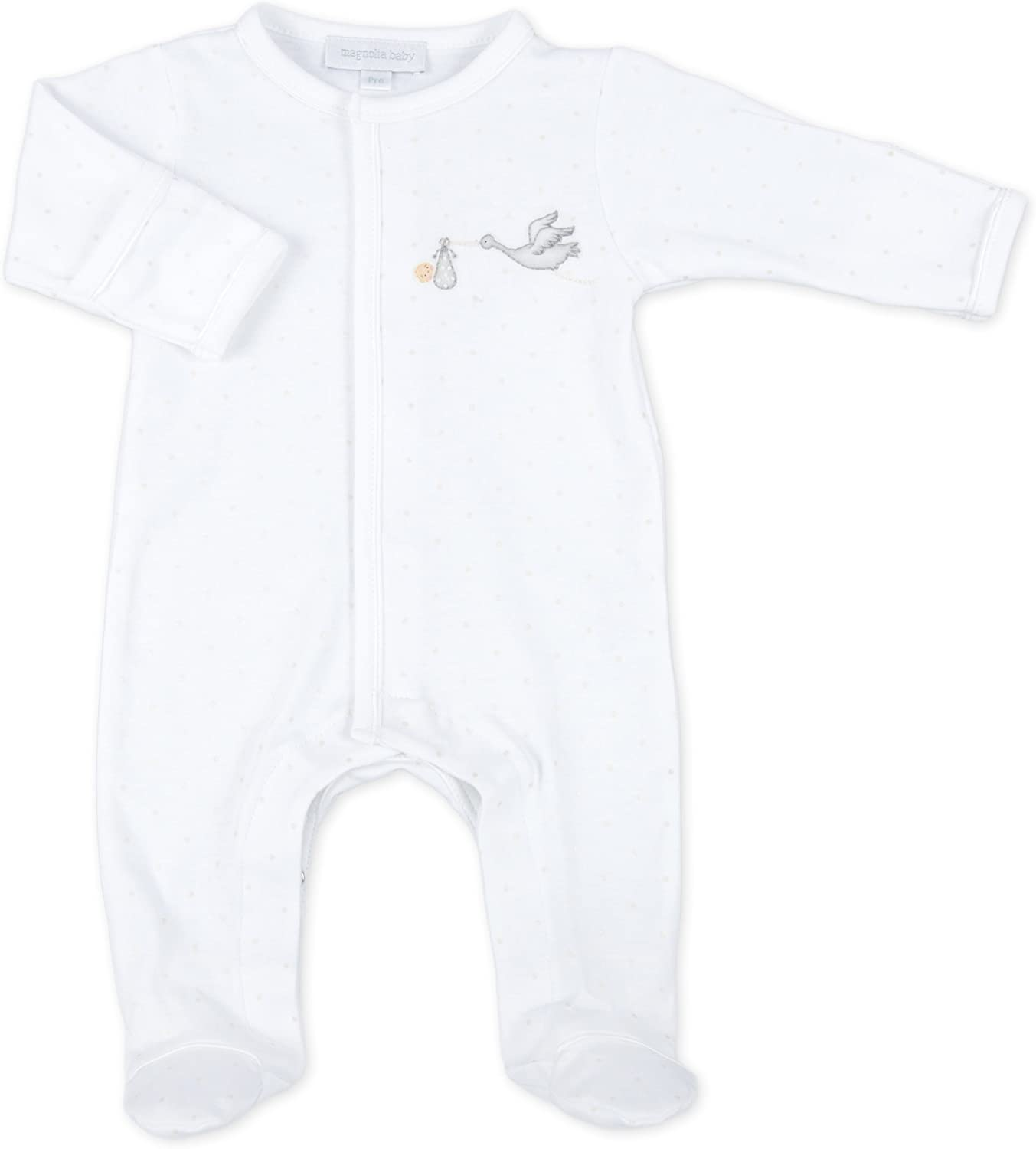 Magnolia Baby Unisex Baby Worth The Wait Essentials Embroidered Footie White