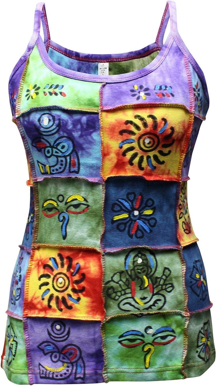 Shopoholic Moda Da Donna Tradizionale Simbologia Toppe Hippy Canotta