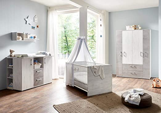 Lifestyle4living Babyzimmer 4 Teile Komplett Set In Weiss
