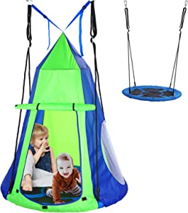BYT Tree Swing Tent,Hanging Tree Tent for Kids, Hanging Tree House Tent Waterproof Portable Indoor or Outdoor Use with Tree Straps(Included Tree Protection )