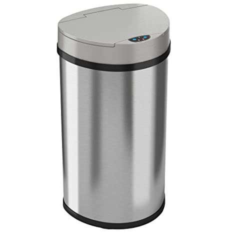 itouchless 13 gallon kitchen trash can stainless steel semi round extra - Stainless Steel Kitchen Trash Can