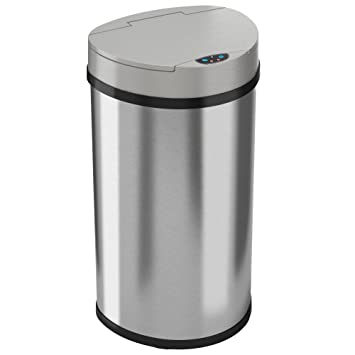 ITouchless 13 Gallon Automatic Touchless Kitchen Trash Can U2013 Semi Round Stainless  Steel Can With