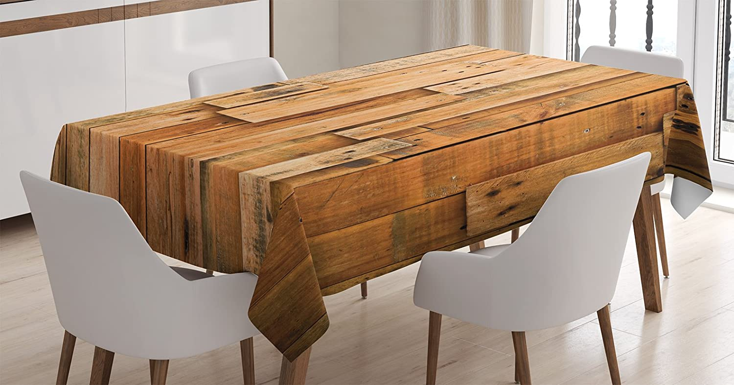 Ambesonne Wooden Tablecloth, Lodge Style Hardwood Planks Image Print Farmhouse Grunge Design, Dining Room Kitchen Rectangular Table Cover, 60