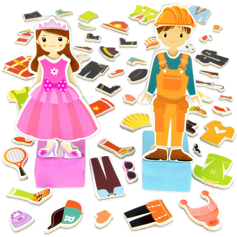 Imagination Generation Zoey & Joey Magnetic Dress-up Playset - Mix-and-Match 65 Pieces including Clothes, Hats, Accessories - Wooden Wonders Toy