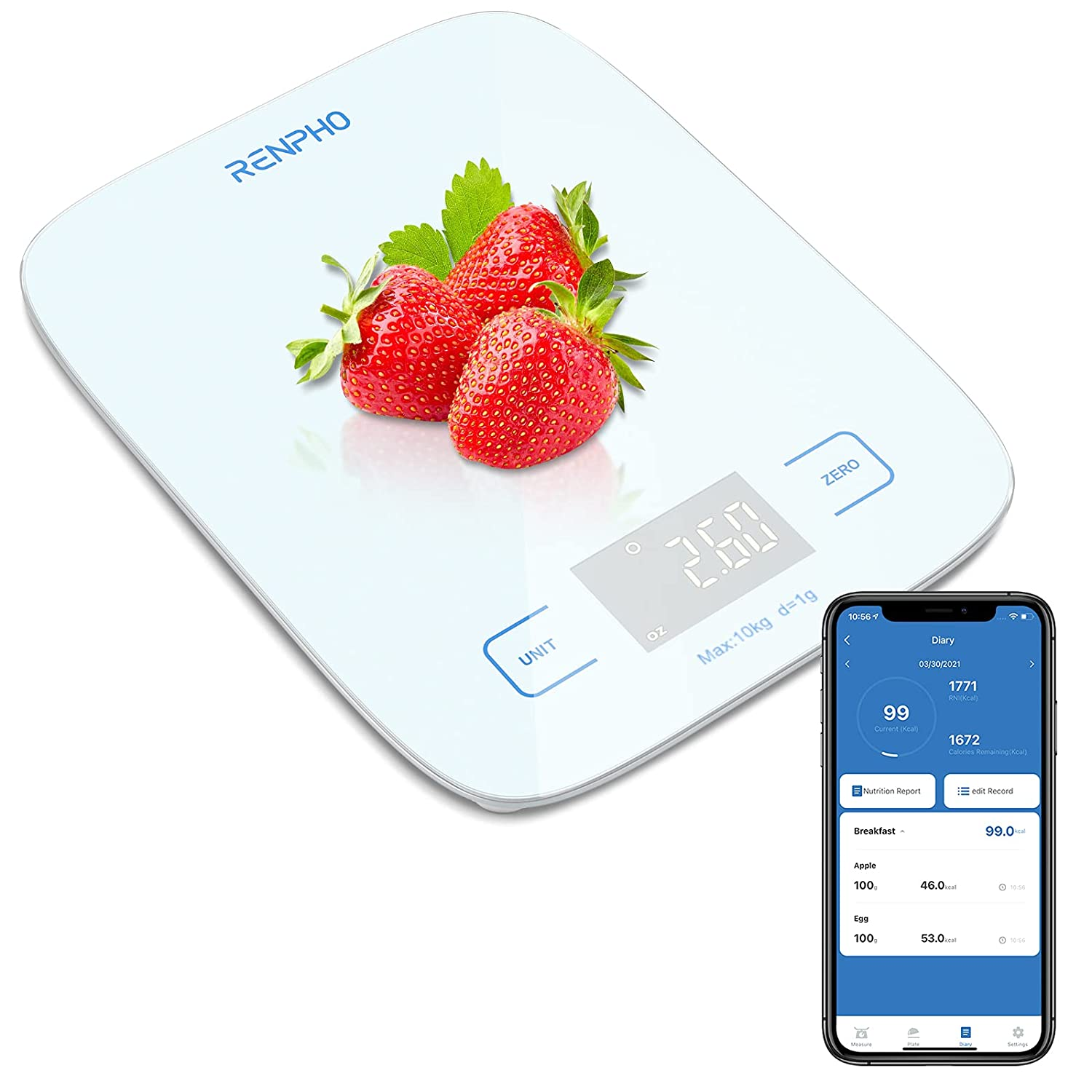 RENPHO Digital Nutrition Food Scale, 22lb/10kg Bluetooth Smart Kitchen Scale with APP for Cooking Baking Coffee Making, LED Display Sleek Portable Waterproof Panel