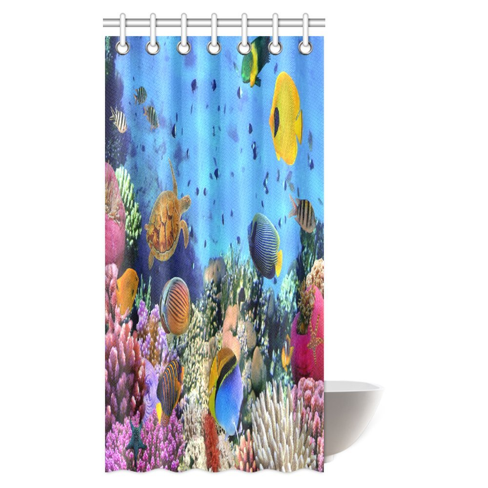 InterestPrint Ocean Decor Collection, Tropical and Exotic Coral Reefs Fish School Natural Life in a Shallow Underwater Wild Marine Seascape Bathroom Shower Curtain Set with Hooks, 36 X 72 Inches