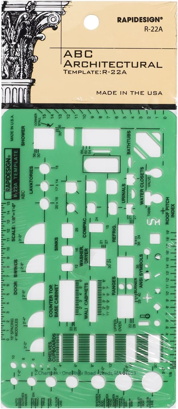 Rapidesign 1/8 Inch ABC Architect Drawing Template, 1 Each (R22A)