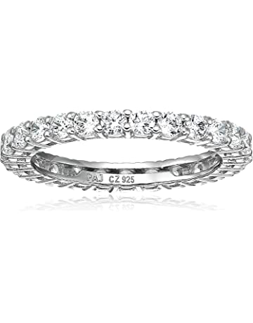 a7c38b90e Amazon Essentials Plated Sterling Silver Round-Cut Cubic Zirconia  All-Around Band Ring