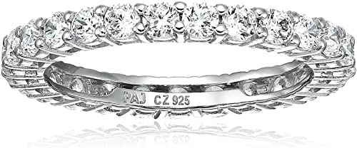 Platinum-Plated Sterling Silver Cubic Zirconia All-Around Band Ring
