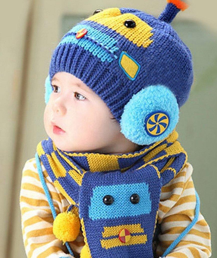 e67960313b856 Happy cherry - (Set de 2 )Bufanda y Gorro de Lana Invierno Otoño Caliente  para Bebés niños niñas - Diseño de coche - Azul  Amazon.es  Bebé