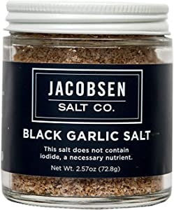 Jacobsen Salt Co. Specialty Sea Salt for Fancy Gourmet Cooking, Infused Sea Salt, Black Garlic Flavored
