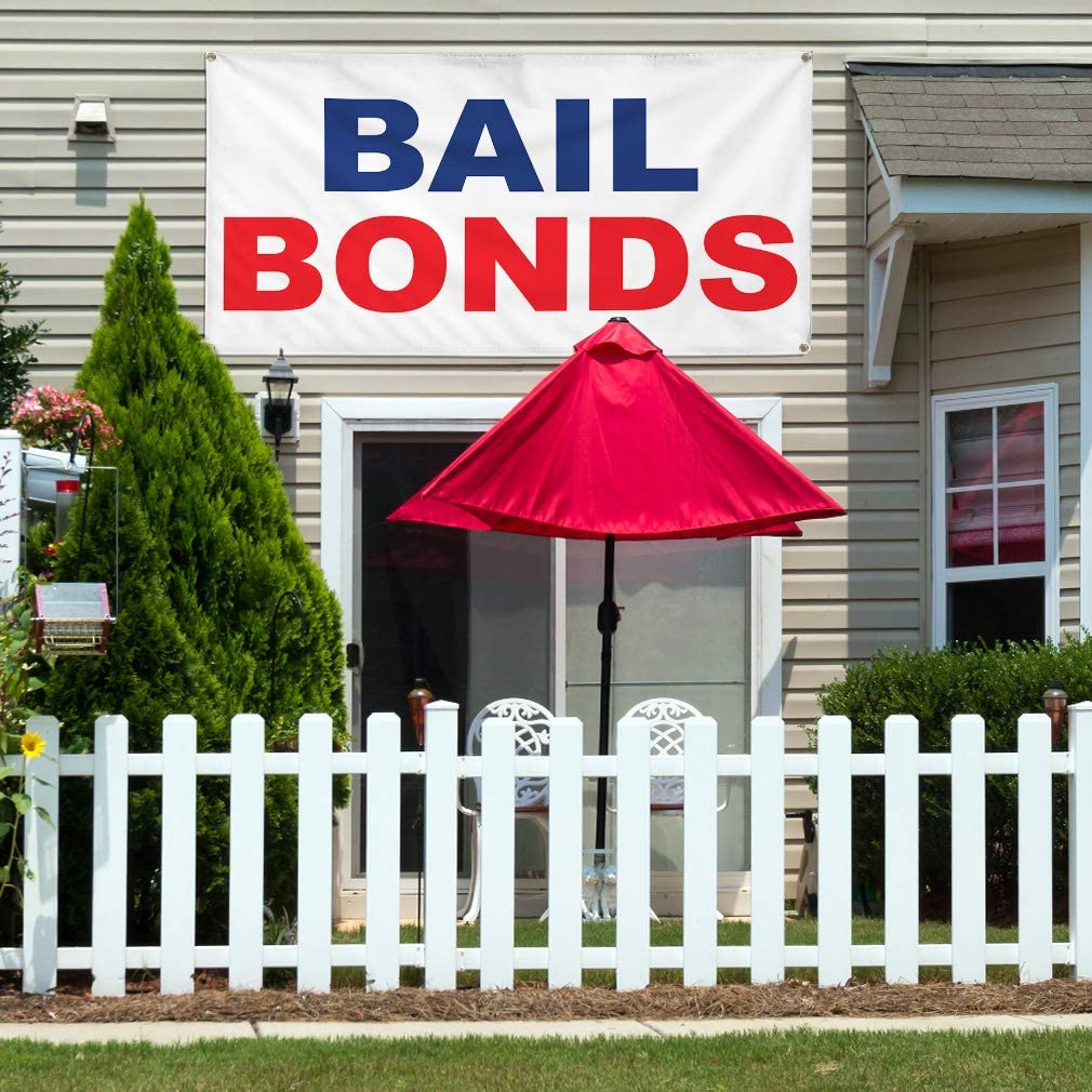 Vinyl Banner Multiple Sizes Bail Bonds Blue Red A Business Outdoor Weatherproof Industrial Yard Signs 10 Grommets 60x144Inches