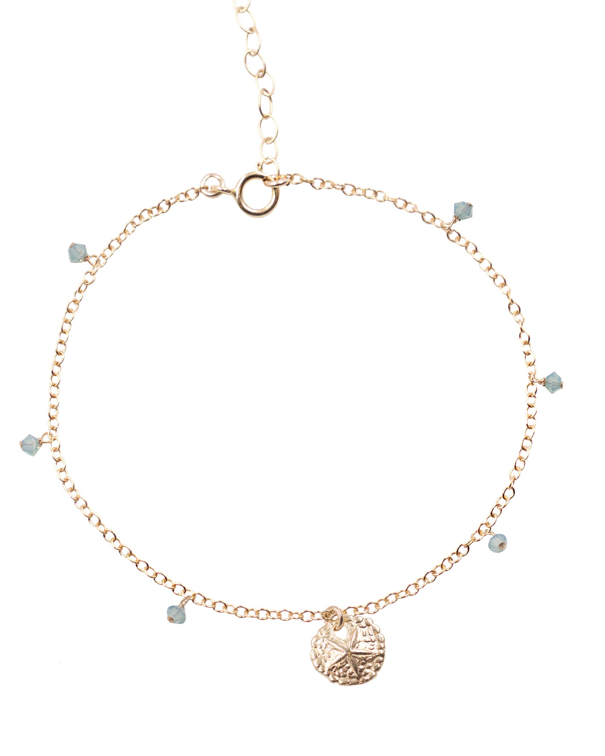 MaeMae 14k Gold Filled Sand Dollar Charm Anklet, 3mm Swarovski Crystals, Cable Chain, 8.5''+1'' Extender by MaeMae Jewelry (Image #1)